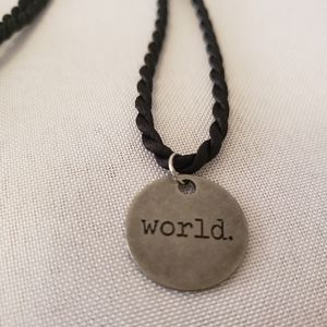"""'World' 18"""" stainless steel charm necklace"""